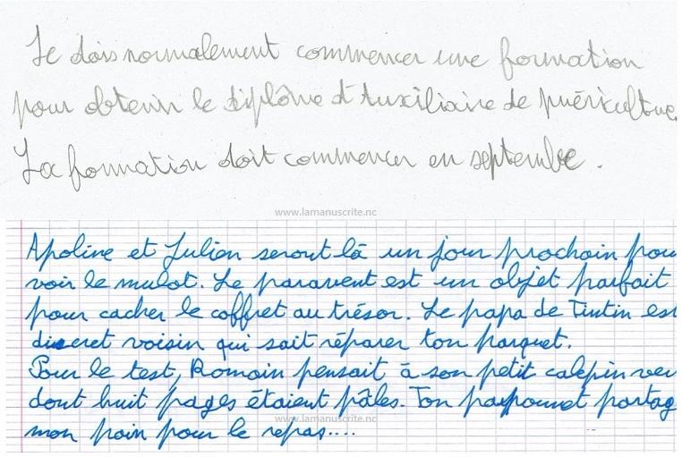 Progression de l'écriture manuscrite d'une femme adulte après une séance de graphopédgogie.